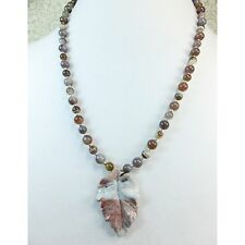 Carved Stone Leaf Pendant Lavender Gray Jasper with Matching Agate Stone Beads