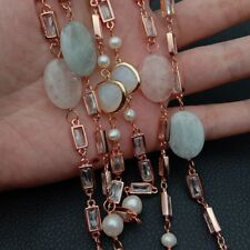 rose gold plated chain Morganite White freshwater Pearl   51''  long Necklace