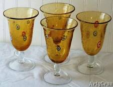 Hand Blown Amber Art Glass Goblets Millefiori Flowers Large Size Set of 4