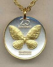 "Philippines 25 sentimos ""Butterfly"" Coin Pendant Necklace."