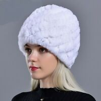 Women Russian Winter Hats Real Rabbit Rex Fur Beanies Fashion New Ladies Knitted