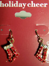 VERY NICE RED AND WHITE CRYSTAL CHRISTMAS STOCKING GOLDTONE PIERCED EARRINGS