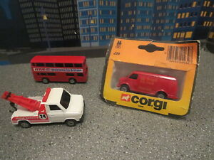 LOT OF 3 CORGI JUNIORS TOW TRUCK LONDON BUS ROYAL MAIN VAN