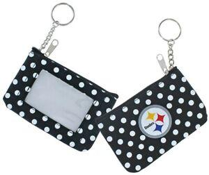 Pittsburgh Steelers Football NFL Nylon Polka Dot Zippered Coin Purse Key Ring