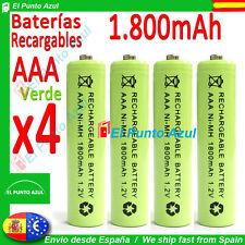 4 Pilas AAA Recargables ★ 1800mAh ★ Altísima Capacidad - 1,2 voltios ★ Battery