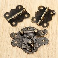 10-50pcs Mini Boîte à Bijoux Poitrine CASE Latch moraillons Lock Buckle Antique Bronze or