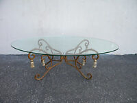 Hollywood Regency Oval Iron Glass Top Coffee Table 3945
