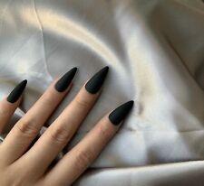 Matte Black Long Coffin Press On Nails Full Cover Fake Nail Glue On 24 Pcs