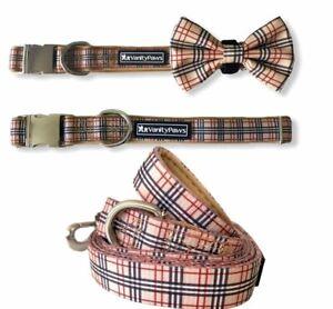 Dog collar lead bow walking check stripe boy wedding metal buckle
