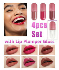 4x Mini Capsule Waterproof Long Lasting Matte Lipsticks with Lip Plumper Gloss