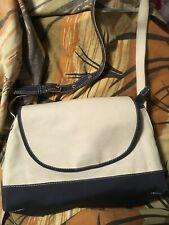 LL BEAN Canvas Crossbody Messenger Shoulder Handbag Natural/Dark Blue