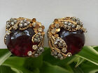 Vintage Signed MIRIAM HASKELL Red Glass & Rhinestone Gold Tone Clip On Earrings