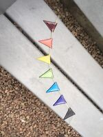 Fused Glass Rainbow Bunting For Inside Or In The Garden