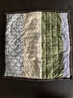 POTTERY BARN KIDS Green Brown Beige Striped Euro SQUARE Pillow SHAM 26x26