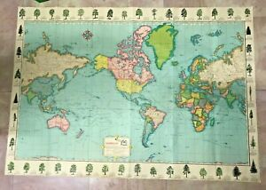 WORLD MAP 20TH CENTURY VERY LARGE ORIGINAL PICTORIAL MAP