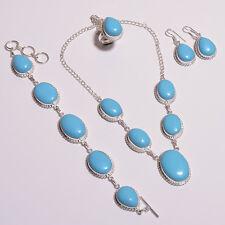 Elegant sleeping beauty turquoise necklace bracelet earring ring set .925 silver