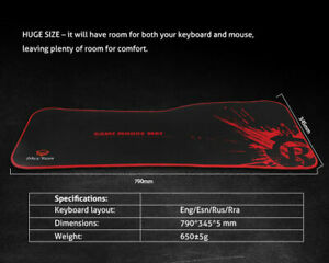 Meetion XL Gaming Mouse Mat - 79 x 35 x .5 cm - Anti-Slip Base