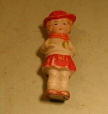 1940's Small Molded Bisque Doll Wearing Dress Orange Scarf & Red Hat - Japan
