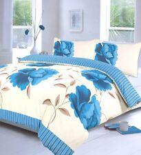 off White & Teal Blue Super King Size Duvet Quilt Cover Bedding Bed Set Floral