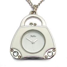 Ladies handbag pendant watch enamel diamante boxed white