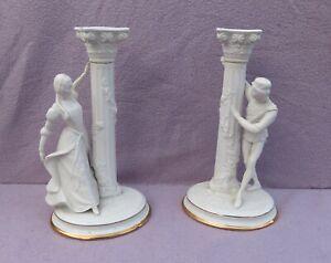 Franklin Mint Porcelain Romeo and Juliet Candlestick Figures