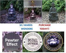 Solar Powered Pewter Effect - Buddha Statue - Warm White LED - Garden Outdoor