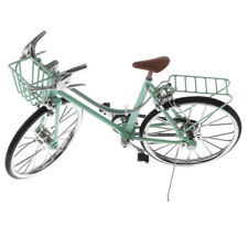 1/10 Mini Alloy Bicycle w/Basket Seat Bike Model Toy with Real Brake Green