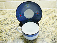 Dansk Nine Patch Quilting Blue PORTUGAL Cup and Saucer Set