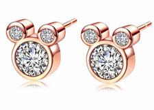 Rose Gold Tone CZ Mickey Mouse Stud Earrings - Disney - Ladies Girls - UK Seller