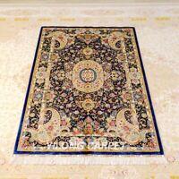 YILONG 4'x6' Handmade Silk Carpet Floral Dining Room Oriental Area Rug Z396A