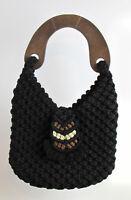 BLACK CROCHET HANDBAG - Women's Vintage Wooden Handle One-Of-A-Kind! SUPER RARE!