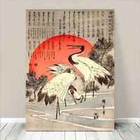 "Beautiful Japanese Floral Art ~ CANVAS PRINT 8x10"" Cranes Red Sun Koson"