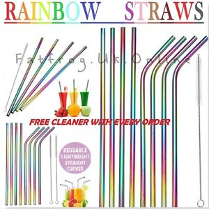 RAINBOW Metal Drinking Straws Steel Drinks Party Straw Cleaner Reusable Bar..-