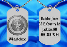 Captain America Dog Tag Necklace for Kids, Personalized FREE with NAME! Shield