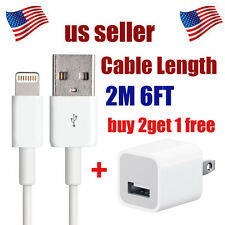 OEM Lightning USB 2m Cable + Wall Charger Apple iPhone 5/5c/5s/6/6 Plus