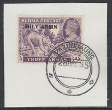 Burma 5492 - 1945 MILY ADMIN 3a on piece with MADAME JOSEPH FORGED POSTMARK