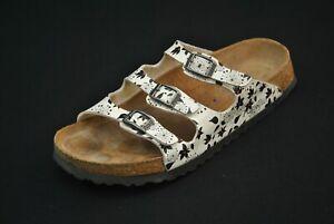 Birkenstock Papillio Sandals Shoes 39 Narrow L 8 M 6 White Black Flowers 3 Strap