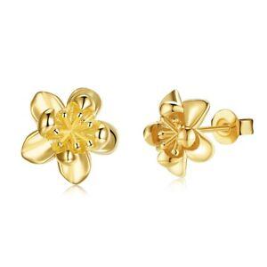 Women's Ear Studs Flower Earrings 18K Yellow Gold Filled 10mm Fashion Jewelry