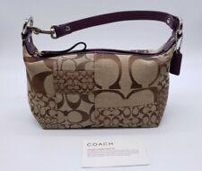 Coach Signature Jacquard w/ Purple Leather Trim Mini Demi Handbag Baguette NEW