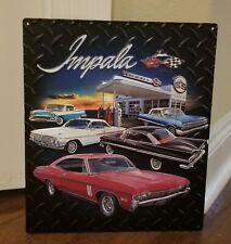 Chevrolet Impalas At Gas Station Embossed Metal Sign