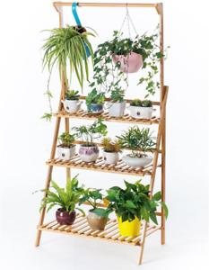 Bamboo 3-Tier Hanging Plant Stand Planter Shelves Flower Pot Organizer Storage R