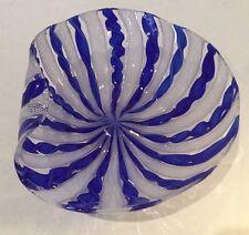 Vintage Signed Venini Murano Art Glass Latticino Blue & White Bowl Candy Dish
