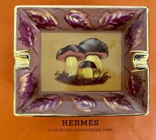 Hermes Paris Aschenbecher Cendrier Ashtray Motiv Steinpilze Cèpe Goldrand