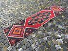 %100 wool Turkish handmade rug, Vintage runner rug, Bohemian rug | 2,1 x 7,8 ft