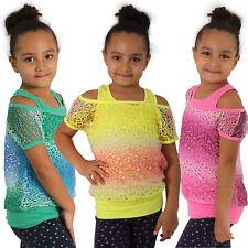 Kinder Zweiteiler Set Träger Top + Netz Shirt Sommer Bunt Farbverlauf Mädchen
