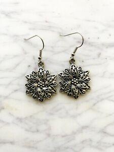 Flower Earrings Tibetan Silver