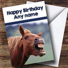 Funny Laughing Horse Personalised Birthday Card