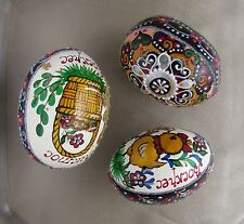 3 Ukrainian Pysanka Wood Easter Eggs Multicolour Paint Jewelled Glitter Design26