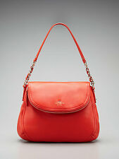 KATE SPADE Cobble Hill Penny POPPY CINNABAR Red Pebbled Leather Shoulder Purse