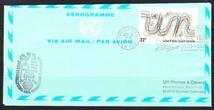 United Nations NY 1980 cover Air Letter Aerogramme Olive Oil Year Essen Cock